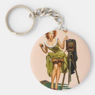 Vintage Camera Pinup girl Basic Round Button Key Ring
