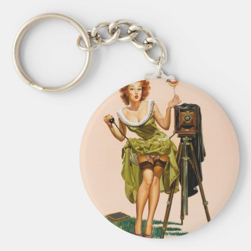 Vintage Camera Pinup girl Key Chain