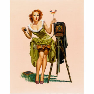 Vintage Camera Pinup girl Standing Photo Sculpture