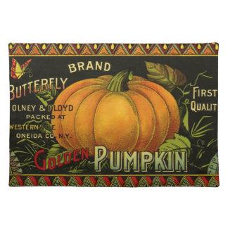 Vintage Can Label Art, Butterfly Pumpkin Vegetable Placemat