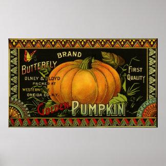 Vintage Can Label Art, Butterfly Pumpkin Vegetable Poster