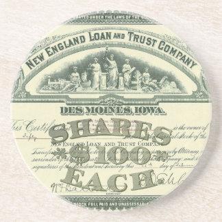 Vintage Capital Stock Certificate Business Finance Beverage Coasters