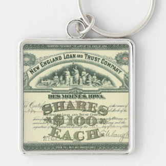 Vintage Capital Stock Certificate Business Finance Silver-Colored Square Key Ring