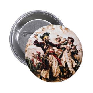 Vintage Capture of Pirate Captain Blackbeard 6 Cm Round Badge