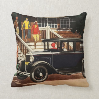 Vintage car ad (1930's) throw pillow