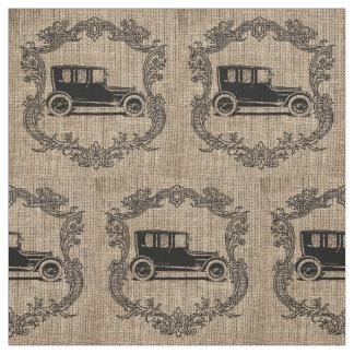 Vintage Car Burlap Fabric
