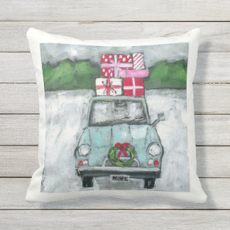 Vintage Car with Presents Christmas Pillow