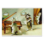 Vintage Cat Piano Recital and Opera Note Card