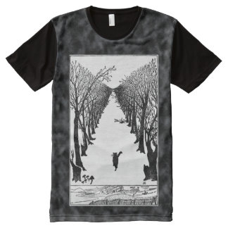 Vintage Cat Who Walks By Himself Art Tie Dye All-Over Print T-Shirt
