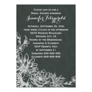Vintage Chalkboard Floral Display Bridal Shower Card