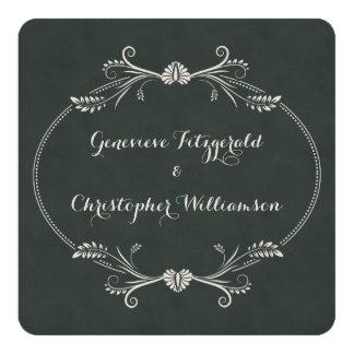 Vintage Chalkboard Floral Frame Wedding Card