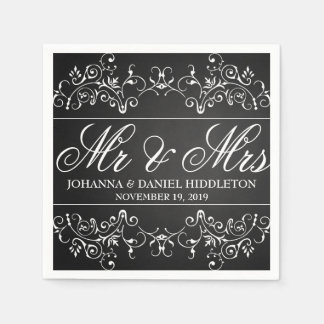 Vintage Chalkboard Flourish Decor Mr & Mrs Wedding Disposable Serviettes