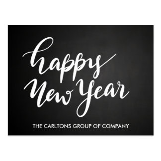 Vintage Chalkboard Happy New Year Script Corporate Postcard
