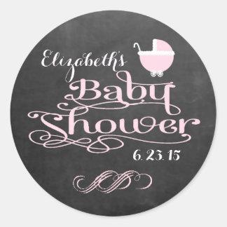 Vintage Chalkboard Look - Pink Girls Baby Shower Classic Round Sticker
