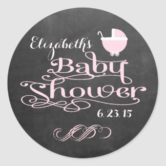 Vintage Chalkboard Look - Pink Girls Baby Shower Round Sticker