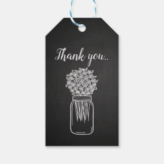 Vintage Chalkboard Mason Jar Floral Wedding Gift Tags