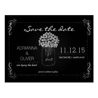 Vintage Chalkboard MasonJar Flowers Save The Date Postcard