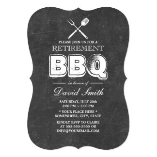 Vintage Chalkboard Retirement BBQ Party Card