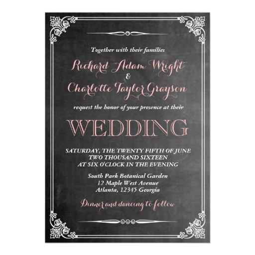 Vintage Chalkboard Victorian Wedding Invitation Invite