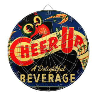 Vintage Cheer Up Soda Sign Owl Man Cave Game Room Dartboard With Darts