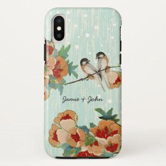 Vintage Cherry Blossom Love Bird Peach Mint iPhone X Case
