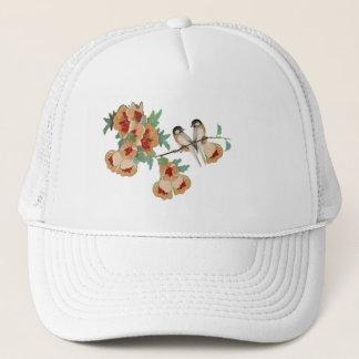 Vintage Cherry Blossom Love Bird Peach Mint Trucker Hat