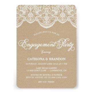 Vintage Chic Brocade Lace Engagement Invitation