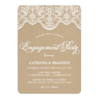 Vintage Chic Brocade Lace Engagement Invitation