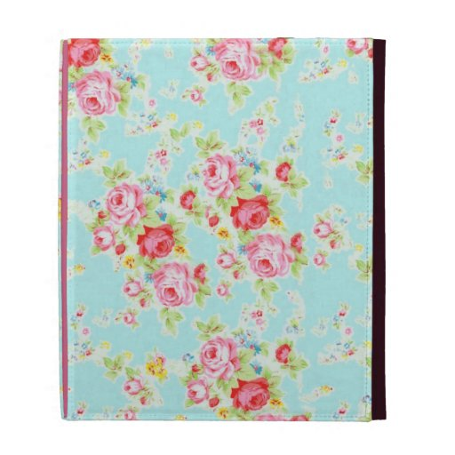 Vintage chic floral roses blue shabby rose flowers iPad folio case