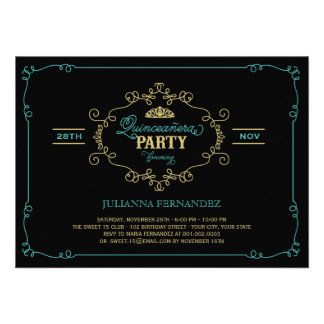 Vintage Chic Flourish Quinceanera Birthday Party Personalized Announcement