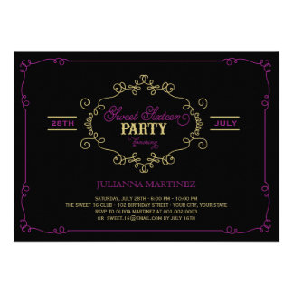 Vintage Chic Flourish Sweet 16 Birthday Party Personalized Announcement