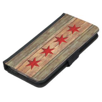 Vintage Chicago Flag Wood Carved Look