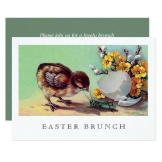 Vintage Chicken Custom Easter Brunch Invitations