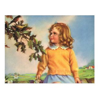Vintage Child, Girl Watching Birds in Tree, Spring Postcard