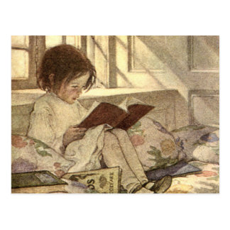 Vintage Child Reading a Book, Jessie Willcox Smith Post Cards
