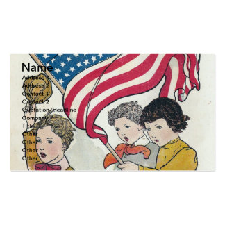 Vintage Children and American Falg Pack Of Standard Business Cards