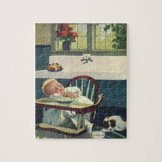 Vintage Children, Baby Sleeping Highchair Kitchen Jigsaw Puzzle