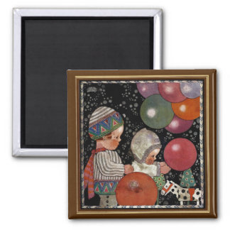 Vintage Children Birthday Party, Balloons and Toys Square Magnet