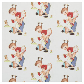 Vintage Children Playing Leap Frog Fabric