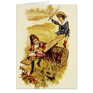 Vintage Children Playing Seesaw Cards