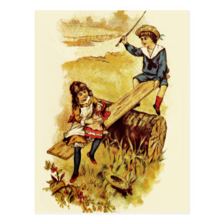 Vintage Children Playing Seesaw Postcard