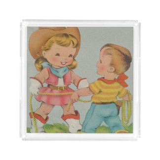 Vintage children playing tray