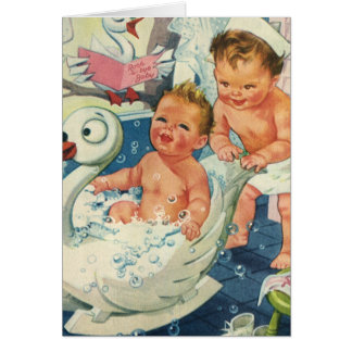 Vintage Children Playing w Bubbles in Swan Bathtub Greeting Card
