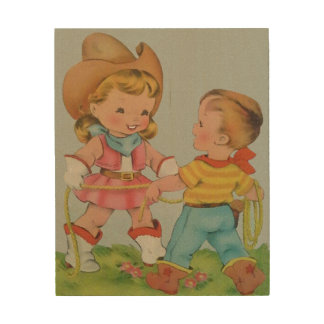 Vintage children playing wood art wood canvases