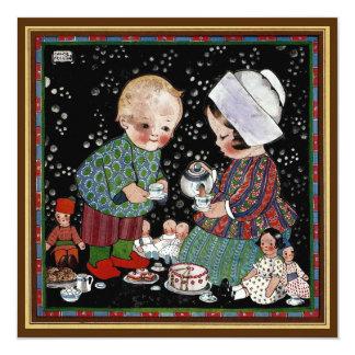 Vintage Children Tea Party Birthday Invitation