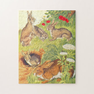 Vintage Childrens Book Illustration Rabbits Jigsaw Puzzle