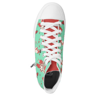 Vintage Chinese Girl Illustration Zipper High Tops Printed Shoes