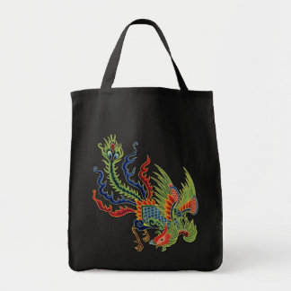 Vintage Chinese Wealthy Peacock Colorful Tattoo Grocery Tote Bag