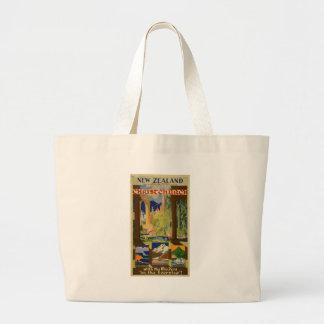 Vintage Christchurch New Zealand Travel Large Tote Bag