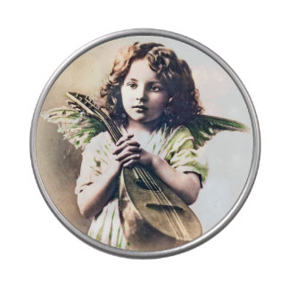 Vintage Christmas Angel Cupid with Lute Candy Tin